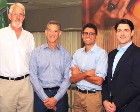 (f.r.t.l.:) AIP partners Justin Fish and Eric Baroyan, Gerber CEO Mike Elia, Graham Sullivan (AIP).